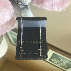 Primrose Sterling Silver Cross Threader Earrings